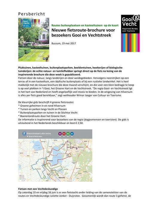 Nieuwe fietsroute-brochure voor bezoekers Gooi en Vechtstreek