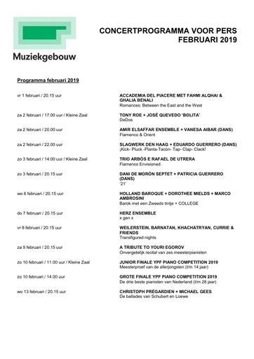 Persagenda Februari 2019 Muziekgebouw aan t IJ