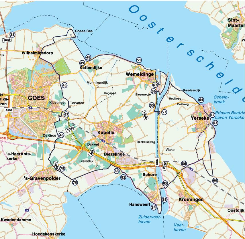 Fietsroute Langs Oosterschelde en Westerschelde 46 km
