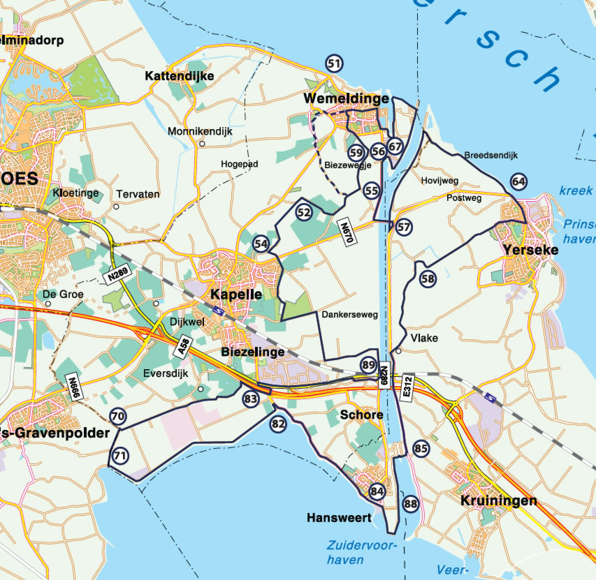 Fietsroute Moernering tussen Oosterschelde & Westerschelde 42 km